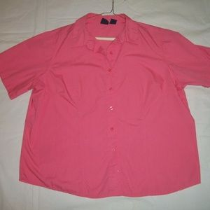Basic Editions Coral Pink Short Sleeve Blouse